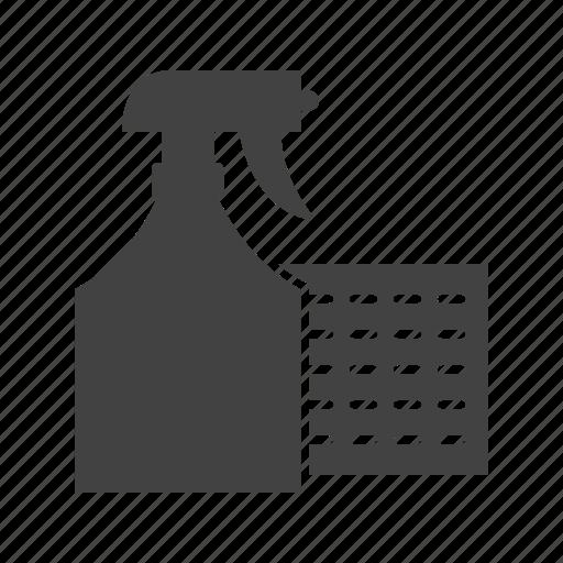 Cloth, detergent, spray, gloves, cleaning, home, sprayer icon