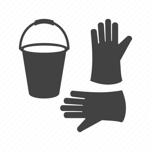 bucket, cleaning, floor, gloves, home, water, work icon