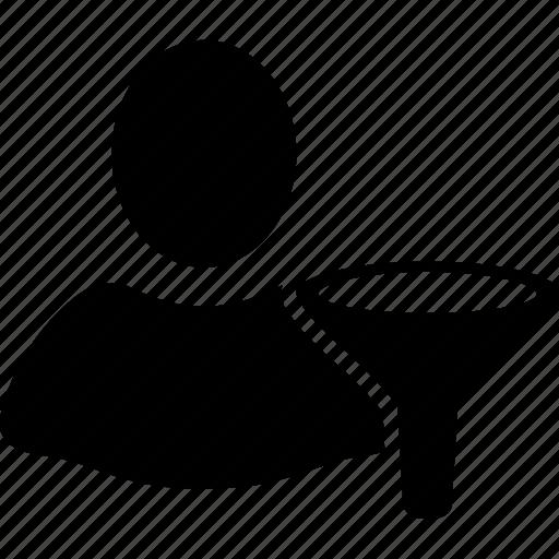 client profile, customer, filter, funnel, person, sort, user account icon
