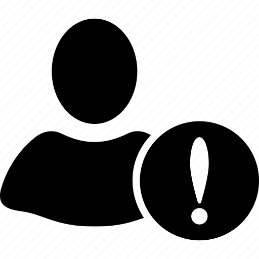 client profile, customer, danger, error, person, problem, user account icon