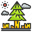 cutting, deforest, deforestation, nature, trees, wood, woodcutter icon