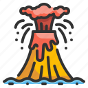 danger, disaster, erupting, eruption, fire, lava, volcano icon