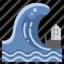 beach, destruction, disaster, floods, house, tsunami, wave icon