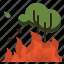 destruction, forest, global, heatwaves, hot, warming, wildfires icon