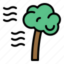 climate, storm, tree, wind, windy icon