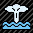 climate, eruption, sea, seamount icon