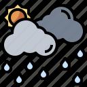 cloud, clouds, rain, raining, rainy, sun, weather icon