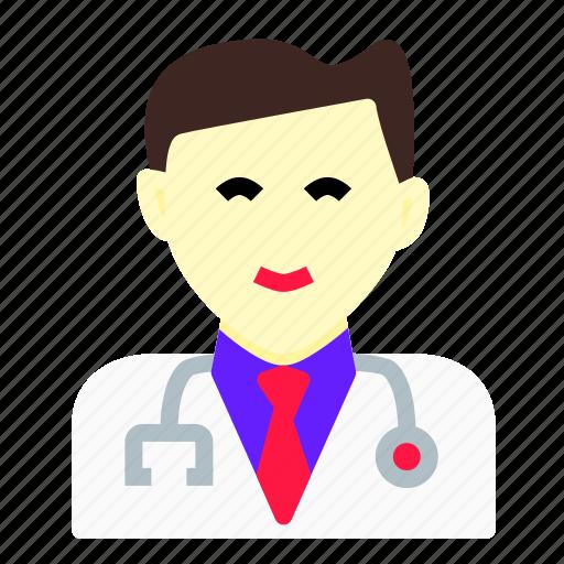 clinic, doctor, head, insurance, man, medicine, stethoscope icon