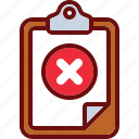block, clipboard, cross, delete, error icon