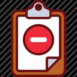clipboard, delete, minus, remove icon