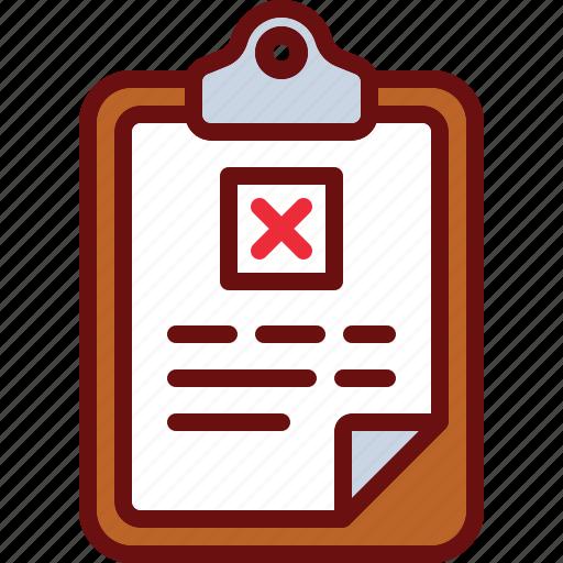 clipboard, cross, delete, document, error icon