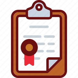 clipboard, diploma, document, stamp, verified icon