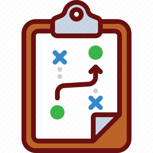 arrow, business, clipboard, plan, strategy icon