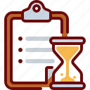 clipboard, document, hourglass, list, time, timer