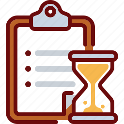 clipboard, document, hourglass, list, time, timer icon