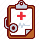clipboard, cross, doctor, heartbeat, med, medicine, stethoscope icon