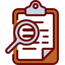 clipboard, document, magnifier, search, zoom icon