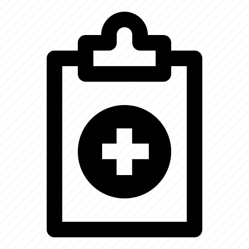 board, clipboard, document, hospital, note, plus, report icon