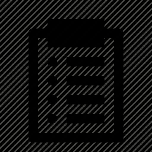 board, checklist, clipboard, document, list, note, report icon