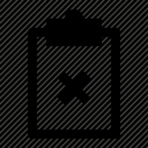 board, clipboard, cross, document, note, remove, report icon