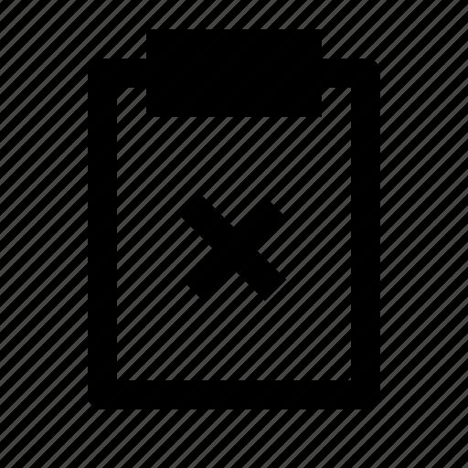 board, clipboard, delete, document, note, remove, report icon