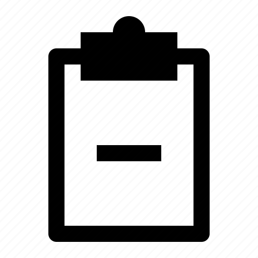 board, clipboard, document, minus, note, remove, report icon