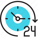 after hours, arrow, clock, nonstop, service, time, working icon