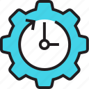 arrow, clock, cog, management, schedule, setting, time icon