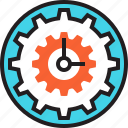 clock, cog, deadline, hour, settings, time, watch icon