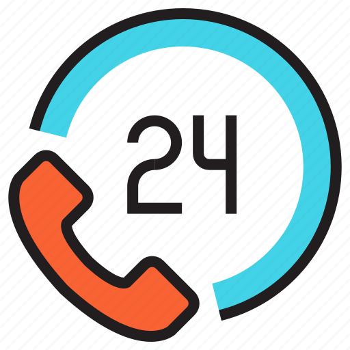 call, clock, emergency, hours a day, nonstop, phone, time icon
