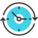 arrows, clock, history, hours a day, nonstop, round the clock, time icon