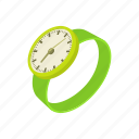 cartoon, clock, green, minute, time, watch, wrist icon