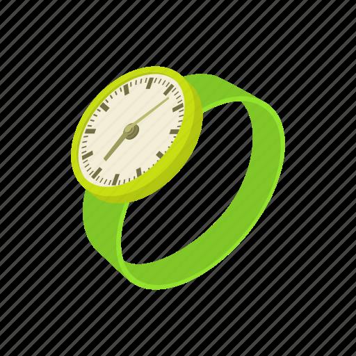 cartoon, clock, green, minute, time, watch, wrist icon
