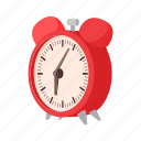 alarm, cartoon, clock, minute, six, table, time icon