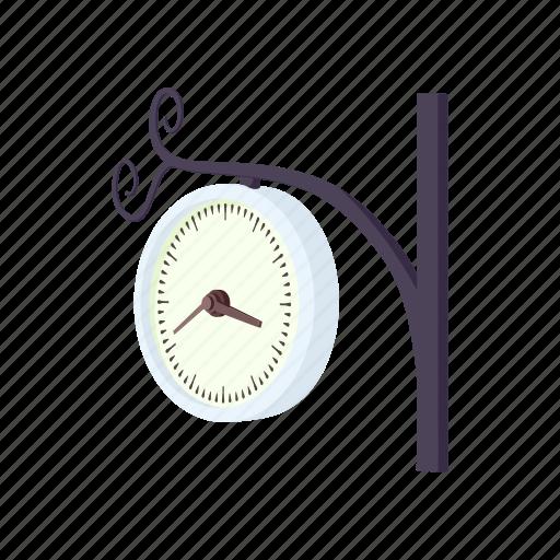cartoon, clock, hour, minute, station, time, train icon