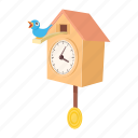 cartoon, clock, cuckoo, decoration, old, pendulum, time icon