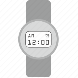clock, design, digital, gray, modern, round, smart icon