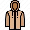 hoody, jacket, proof, raincoat, resistant, water icon