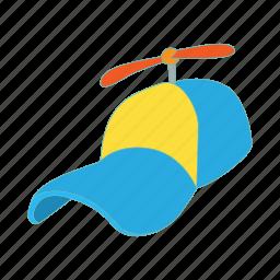 cap, cartoon, cloth, funny, hat, head, propeller icon