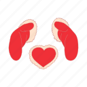 cartoon, day, heart, love, mitten, red, winter icon