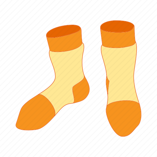 cartoon, cloth, cotton, pair, sock, sport, yellow icon