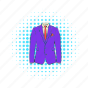 clothing, comics, fashion, jacket, men, shirt, tie icon