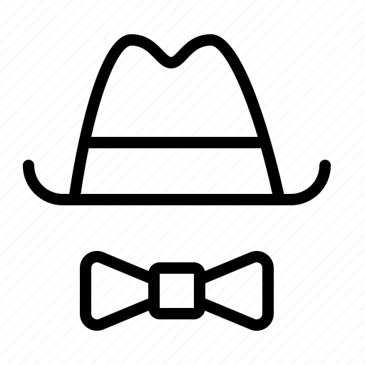bow, hat, ios, panama, smart, tie, trilby icon