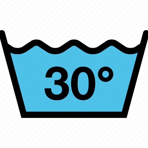 clothes, dry-cleaning, regulations, wash, water temperature icon