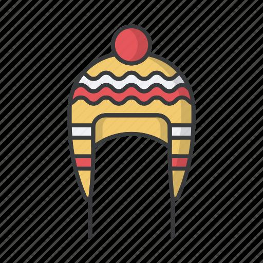 cap, fashion, hat, headwear, pompom, warm, woolen icon