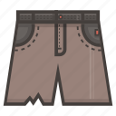 brown, jeans, short, shreded, pants icon