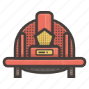 firefighter, hat, helmet, safety icon