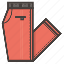 folded, pants, red, clothing icon