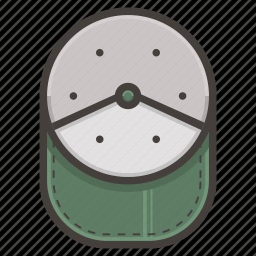 baseball, cap, green icon