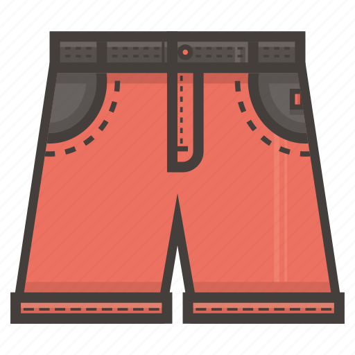 clothing, jeans, pants, red, short icon